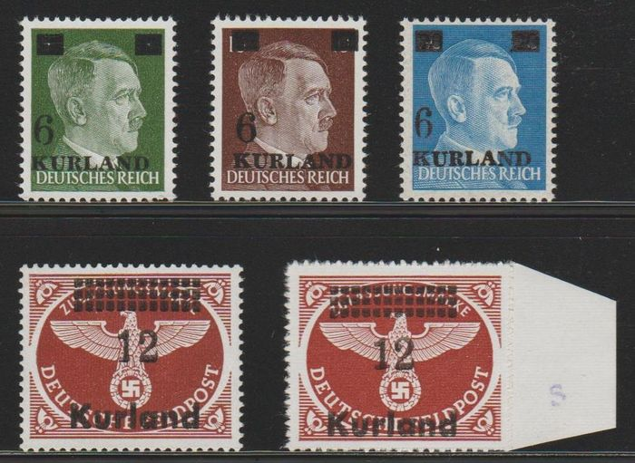 Allemagne Occupation Kurland 1945 - Freimarken with overprint 'Kurland' 1/4A/B