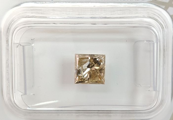 Diamant - 1.12 ct - Princesse - fancy intens brownish yellow - I1, No Reserve Price
