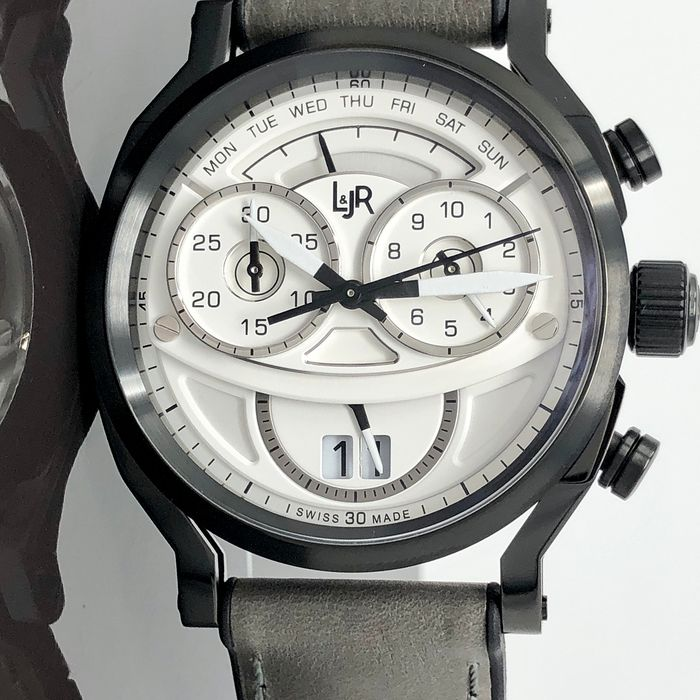 L&JR - Chronograph Day and Date Multi-layer White Dial with Grey Strap Swiss Made - S1501 - Heren - Brand New