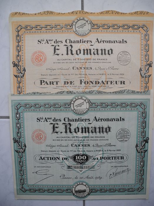 "2 shares ""Chantiers Aeronavals E. Romano"" from 1929 - paper"