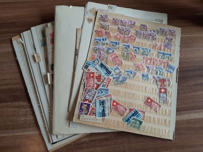 Switzerland - Starting with classics, on loose pages, stock pages, cards and two stock books