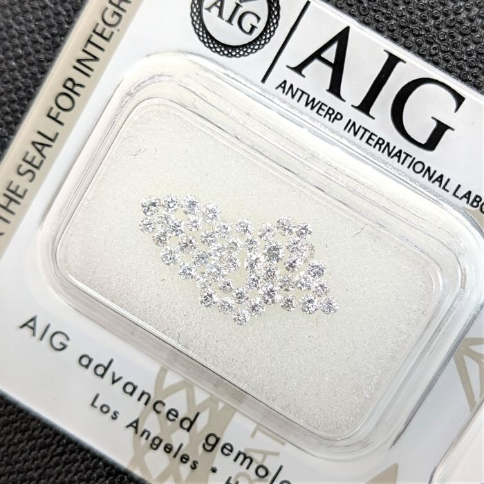 46 pcs Diamants - 0.56 ct - Brillant - D (incolore), E, F, No Reserve Price - I1, SI1, SI2, SI3, VS1, VS2, VVS2, No Reserve Price