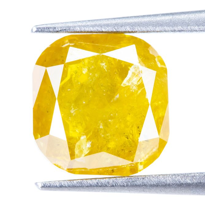 Diamant - 1.50 ct - Natural Fancy INTENSE Brownish Yellow - I3  *NO RESERVE*