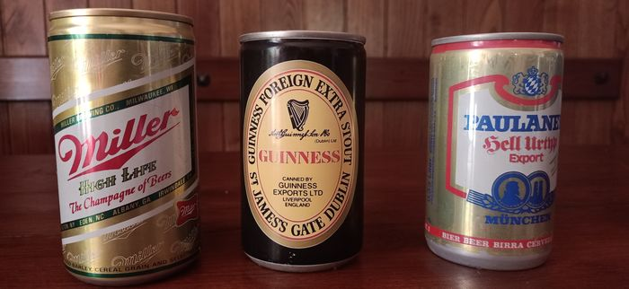 3 rare cans of beer from the 1960s & 1970s: Guinness, Paulaner & Miller