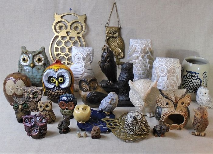Decorative owls - Ceramics, brass, porcelain and other materials