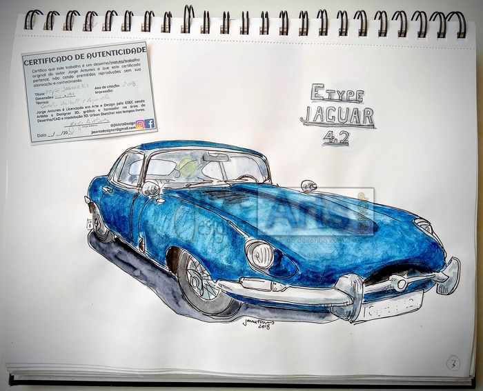 Original watercolor by Jorge Antunes - Etype Jaguar 4.2 - 2018