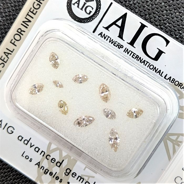 10 pcs Diamanten - 0.60 ct - Markis - Mix Color - SI1, SI2, VS1, VS2, VVS1, VVS2, No Reserve Price