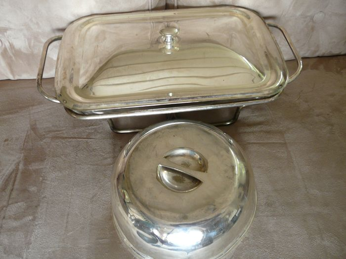 Silver plated cloche and chafing dish (2) - silver plated