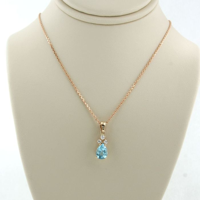14 karat rose gold - necklace with pendant - 0.06 ct diamond