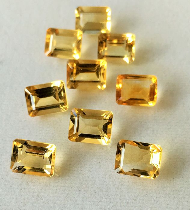 9 pcs Jaune Citrine - 19.31 ct
