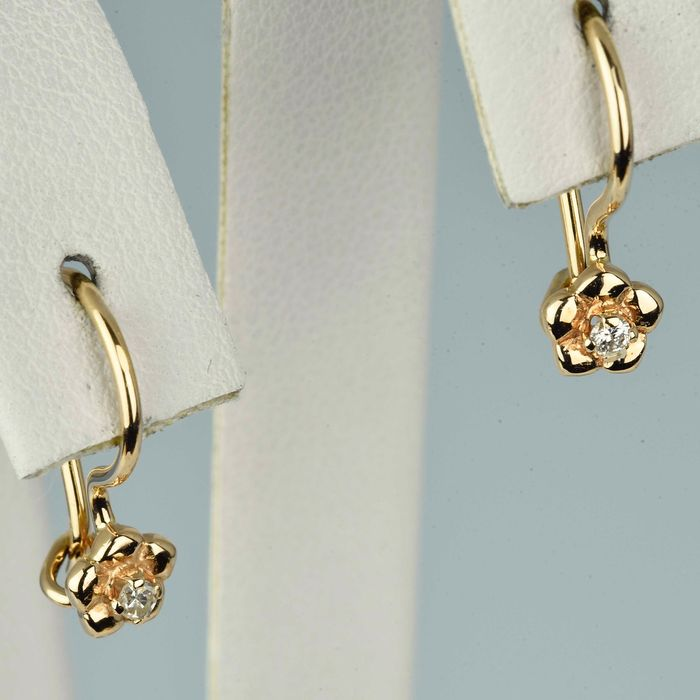 14 quilates Oro rosa - Pendientes - 0.04 ct Diamante