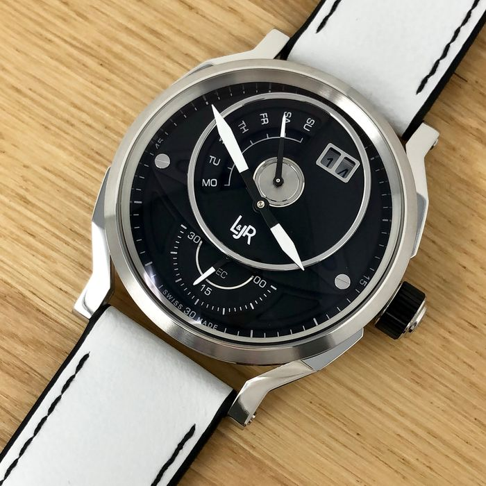 """L&JR - Day and Date Black Dial with White Strap Swiss Made - S1302-S6 """"NO RESERVE PRICE"""" - Homem - Brand New"""