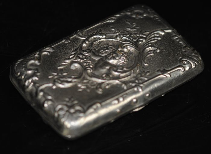Cigarette Case Embossed with Cherub - Silver plated