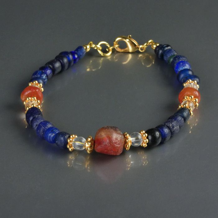 Ancient Roman Glass Bracelet with blue glass and carnelian beads - (1)
