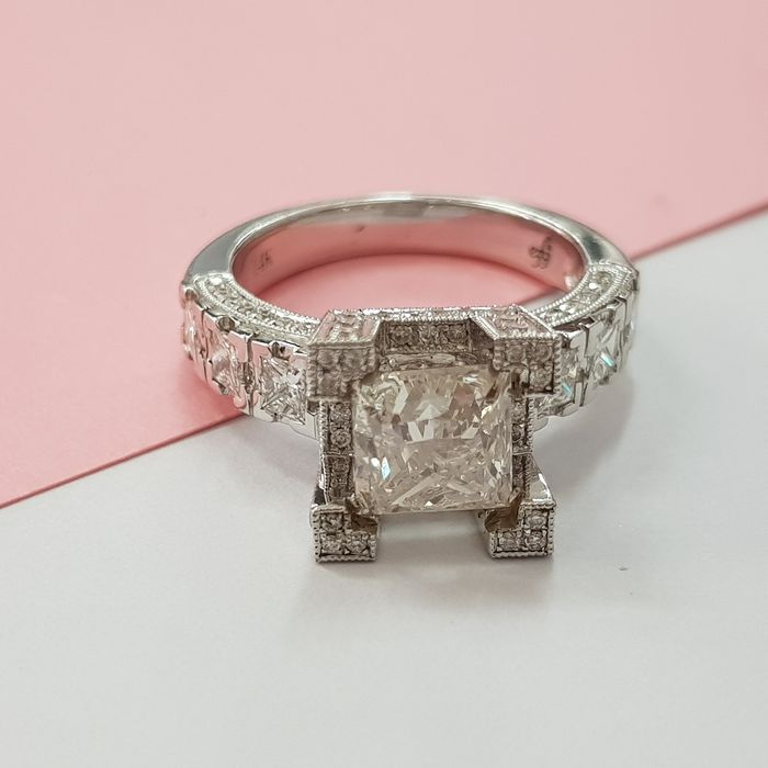 14 karaat Witgoud - Ring - Helderheid versterkt 2.00 ct Diamant - Diamant