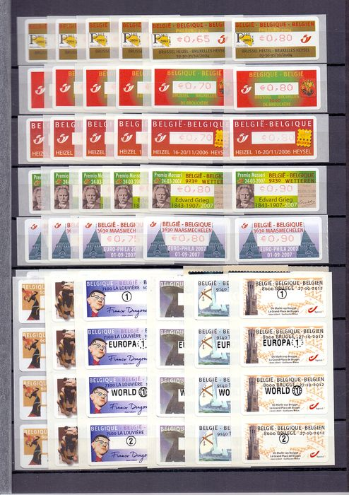 Belgique 2004/2012 - 12 complete sets of adhesive machine stamps - OBP / COB tussen ATM113 en ATM140