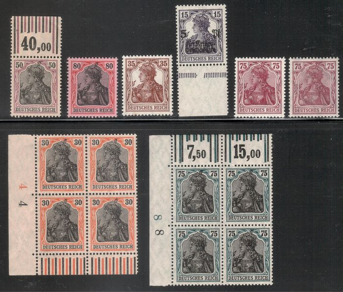 """Empire allemand 1915/1922 - """"Germania"""" lot including better expertised pieces"""