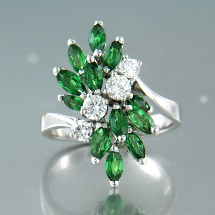 14 carats Or blanc - Bague - 0.52 ct Diamant - Tsavorite