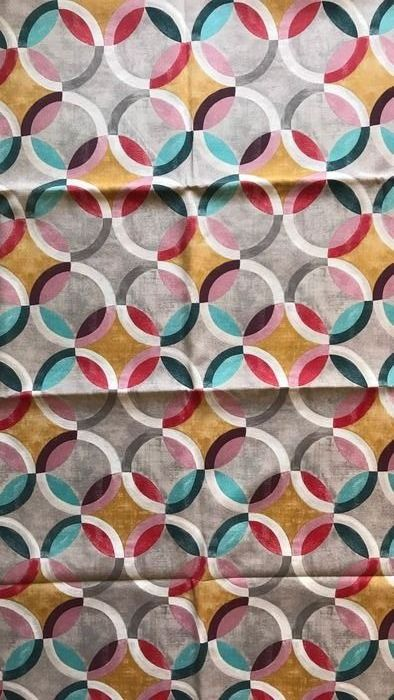 2.80 meters x 2.60 meters elegant and modern fabric with geometric decoration in multicolored circles - Cotton - unknown