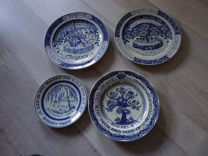 Four commemorative plates - Porceleyne Fles and Delft Blue (4) - Pottery