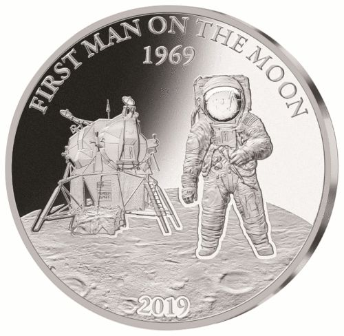 Barbados - 5 Dollars 2019 First Man on the Moon - 1 oz - Silver