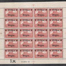 Duitse Rijk - bezetting van België (1914-1918) (Landespost) 1916 - 1.25 F type II as a complete sheet - Michel 23 II