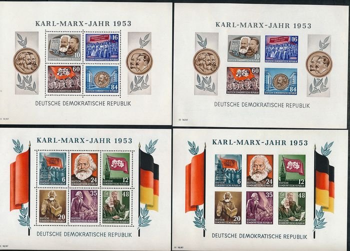"Duitse Democratische Republiek (DDR) 1953 - ""Karl-Marx-Jahr"" (Karl Marx Year), all 4 block issues, perforated / imperforate - Michel Block 8/9 A/B"