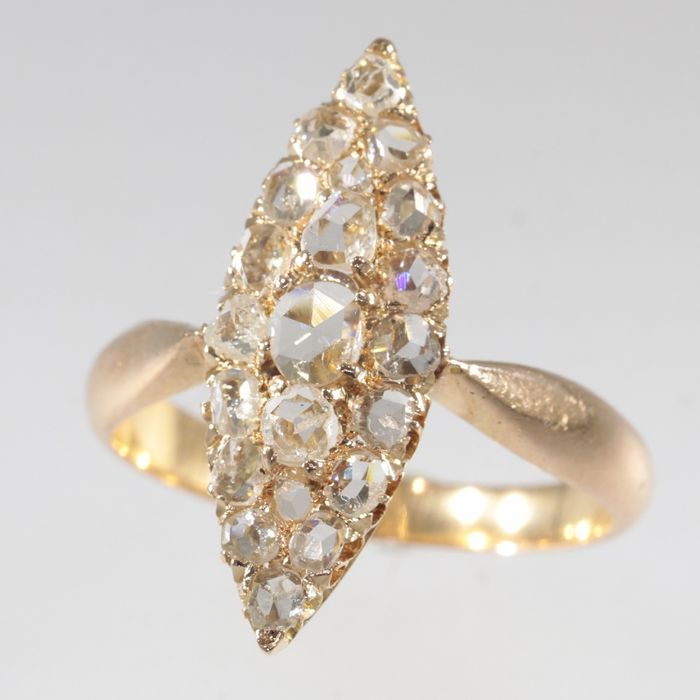18 kt. Pink gold - Ring, Victorian marquise shape, Anno 1890 - Diamond - Free resizing!* - NO RESERVE PRICE