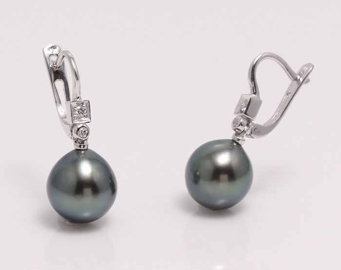 NO RESERVE PRICE - 14 kt. White Gold - 10x11mm Tahitian Pearl Drops - Earrings - 0.07 ct