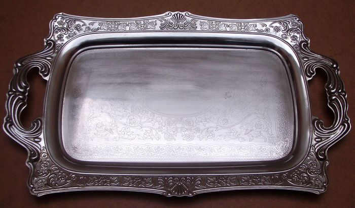 Antique Very Large Serving Tray - Steel (stainless)