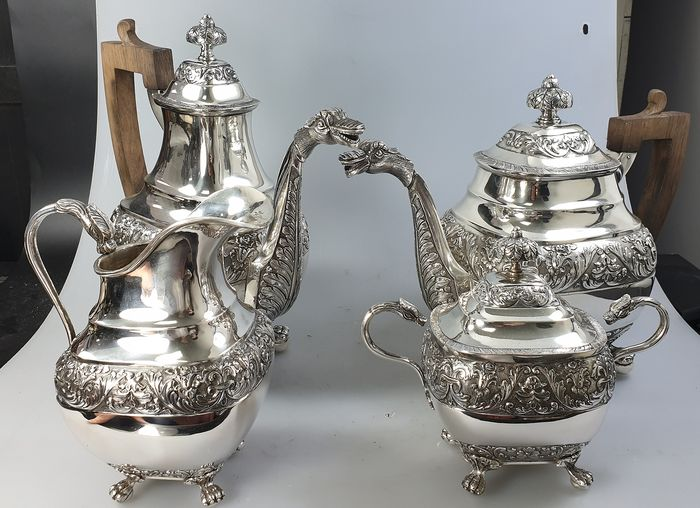 Coffee and tea service (4) - .833 silver - Portugal - Second half 20th century