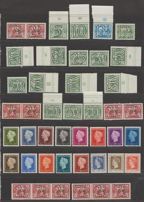 Netherlands 1940/1949 - Numeral type ´Guilloche´ and Wilhelmina 'Hartz' - NVPH 356/373, 356a/d + 474/489
