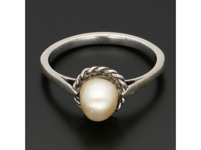 835 silver ring pearl