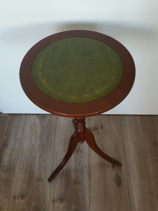 Classic Wine Table with a Leather inlaid Sheet - Wood and leather