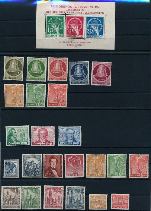 "Berlin 1949/1951 - Lot with ""Währungsgeschädigten Block"" (Currency Victims block) and ""Goethe"" on stock cards"