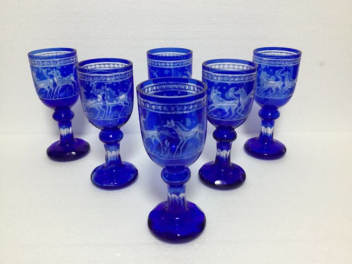 Set of 6 crystal glasses - Bohemian crystal