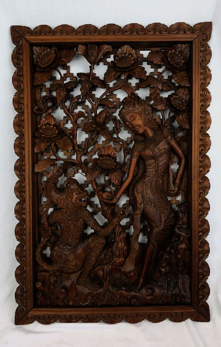 Carving - Wood - Hanuman & Sita - Bali, Indonesia