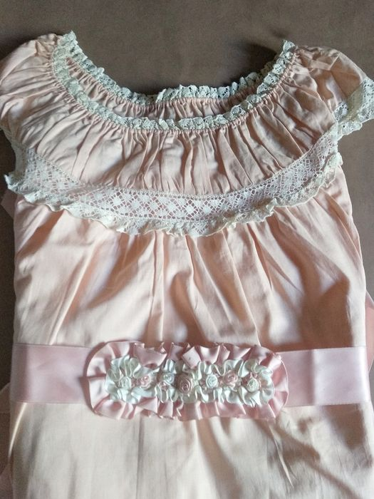 Old salmon nightgown with lace strips. - Cotton Layer Strips Perfect state.
