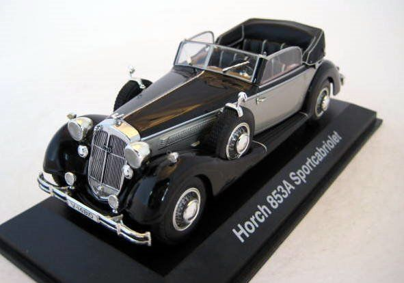 MiniChamps - 1:43 - Horch 853A Sportcabriolet Silver/Black 1937 - Limited Edition - Mint Boxed - Factory Sold Out