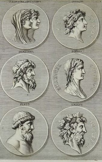 10 folio engravings by Joh. Sandrart (1606 – 1688) - With 60 fine engravings of Greek & Roman dignitaries  - 1676