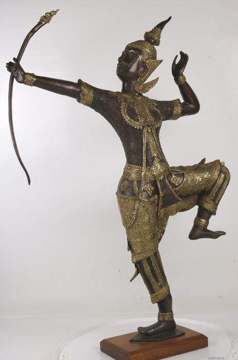 Beautiful Rama Hindugod statue with bow - Bronze, Gilded - Thailand - Second half 20th century