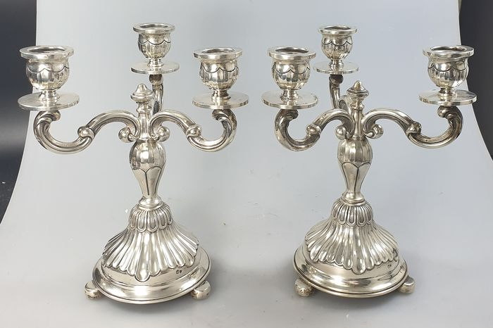 A pair of three-light candelabra - .833 silver - Portugal - mid 20th century