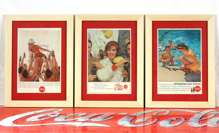 Coca-Cola Company - Old adverts (3) - Glass, Paper, Wood