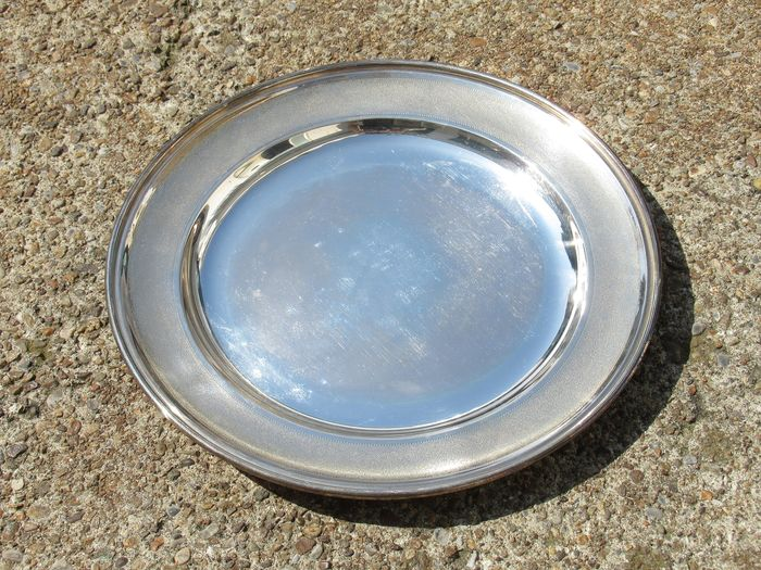 Round flat tray with worked and punched edge - .800 silver