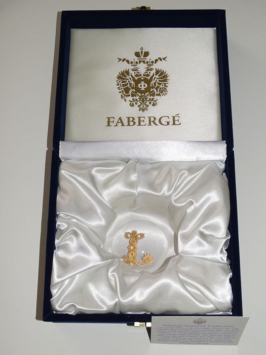 Imperial Romanov letter  authentic - Fabergé - rare original - Crystal, hand engraved-24k gold finished