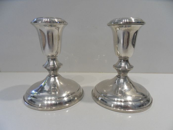 Candlestick, Superb big and heavy pair of silver candlestick (2) - .925 silver - Towle - U.S. - Early 20th century