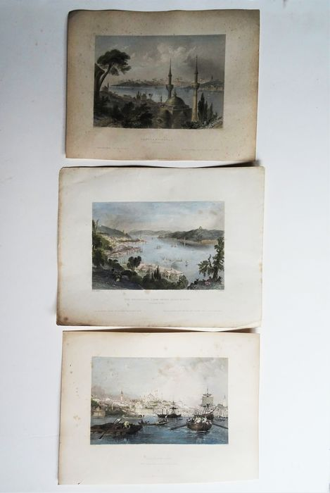 Turkey, Istanbul, Constantinople - three engravings; Bartlett/Walsh - Constantinople / The Bosphorus, from above Beshik-Tase / Constantinople From the Entrance.... - 1821-1850
