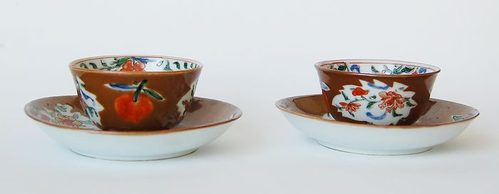 Two Batavia Cups and Saucers - Porcelain - China - 18th century