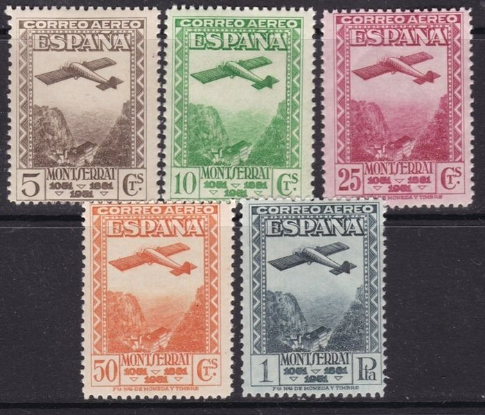 Spain 1931 - Centennial of the Foundation of Montserrat Monastery - Edifil 650/654