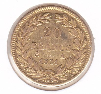 20 Francs 1831 A Louis Philippe I - Or